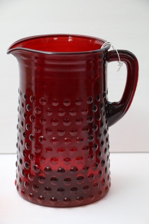 Vintage Red Bubble Glass Water Pitcher & 5 Glasses - 2