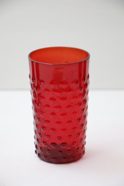 Vintage Red Bubble Glass Water Pitcher & 5 Glasses - 3