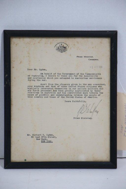 Ben Chifley (1885-1951) ALS Australian PM