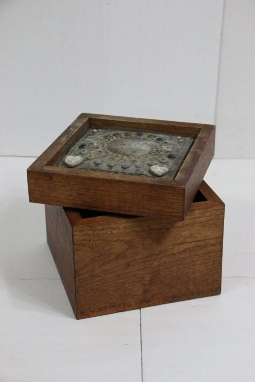 Antique Wooden Box with Decorative Stone Top