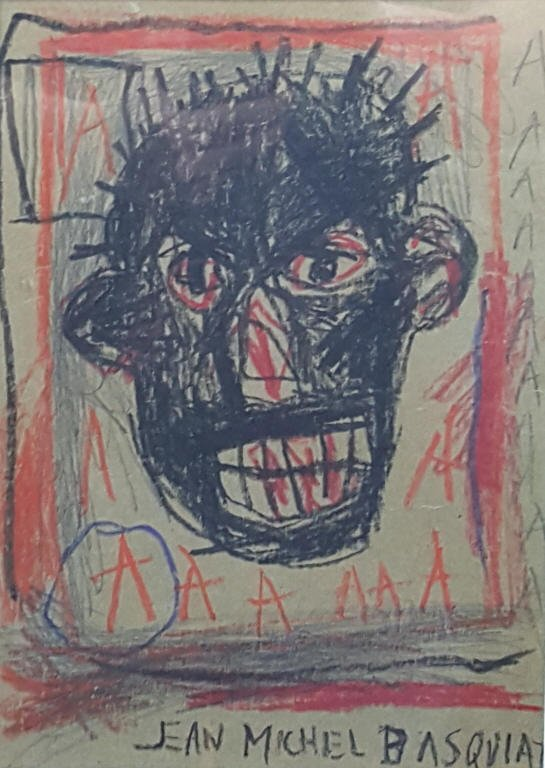 Jean-Michel Basquiat drawing signed (King Charles I)
