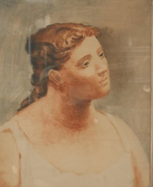 """Pencil Signed Picasso Litho """"Buste de Femme"""""""