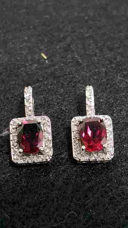3.5 ctw diamond & pink tourmaline earrings