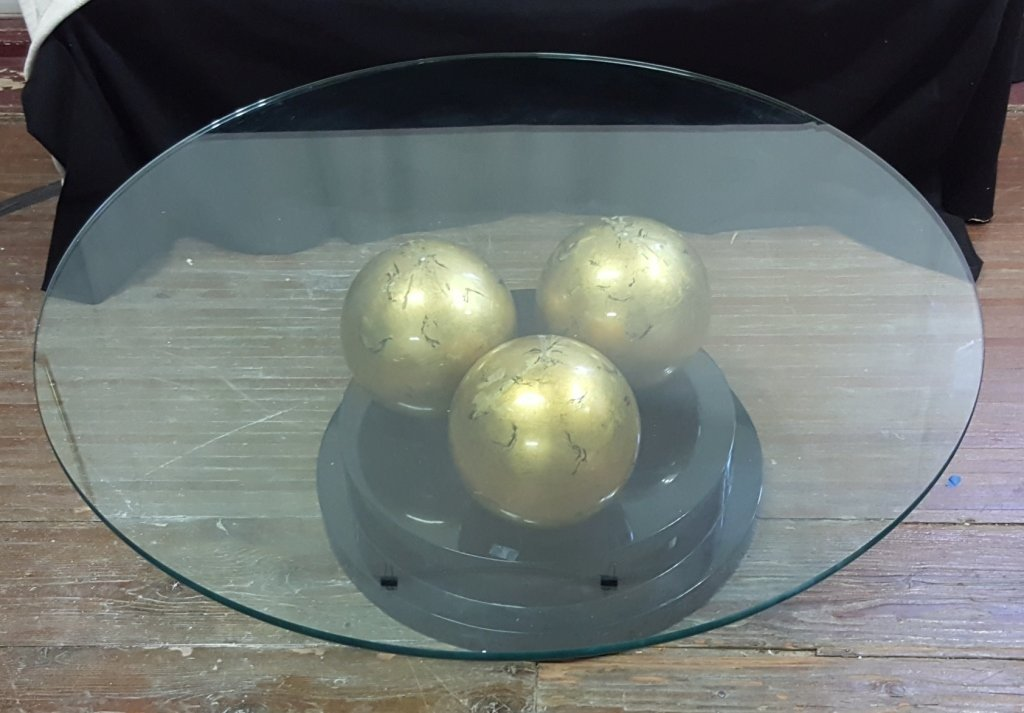 Modernist Glass Table with Tri-Sphere Base