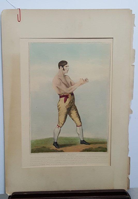 John Martin antique colored boxing print