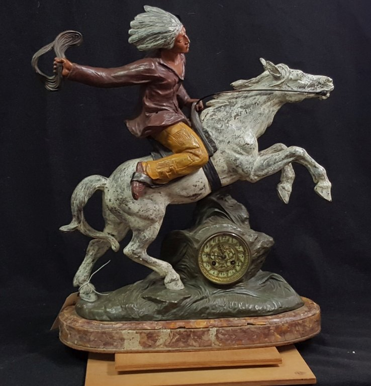 A French figural clock American Indian on Horse