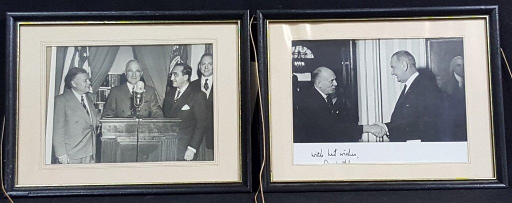 2 photos of Presidents Lyndon Johnson, 1 Signed