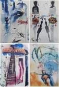 "4 Salvador DALI etchings ""Alice in Wonderland"""