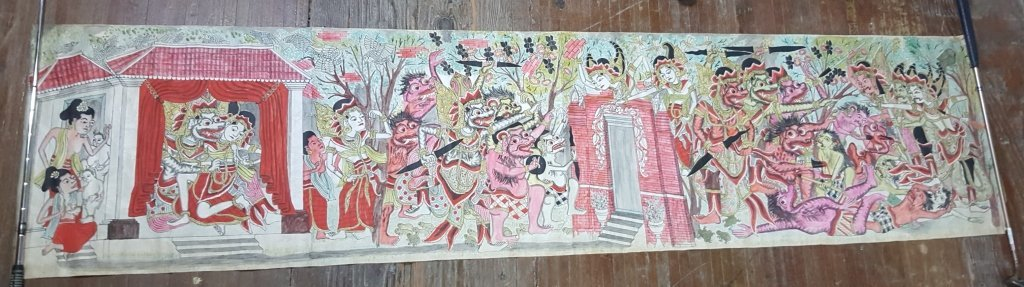 Early 20th Cambodian Canvas Painted Scrolls