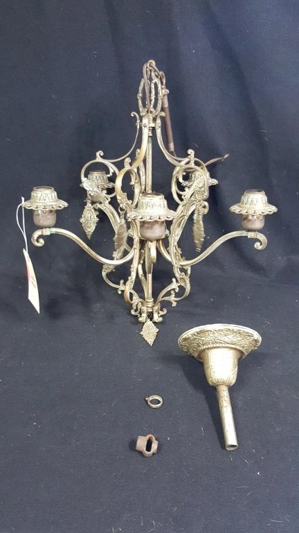 French Gilt Bronze Chandelier W/ Hanging Medalians