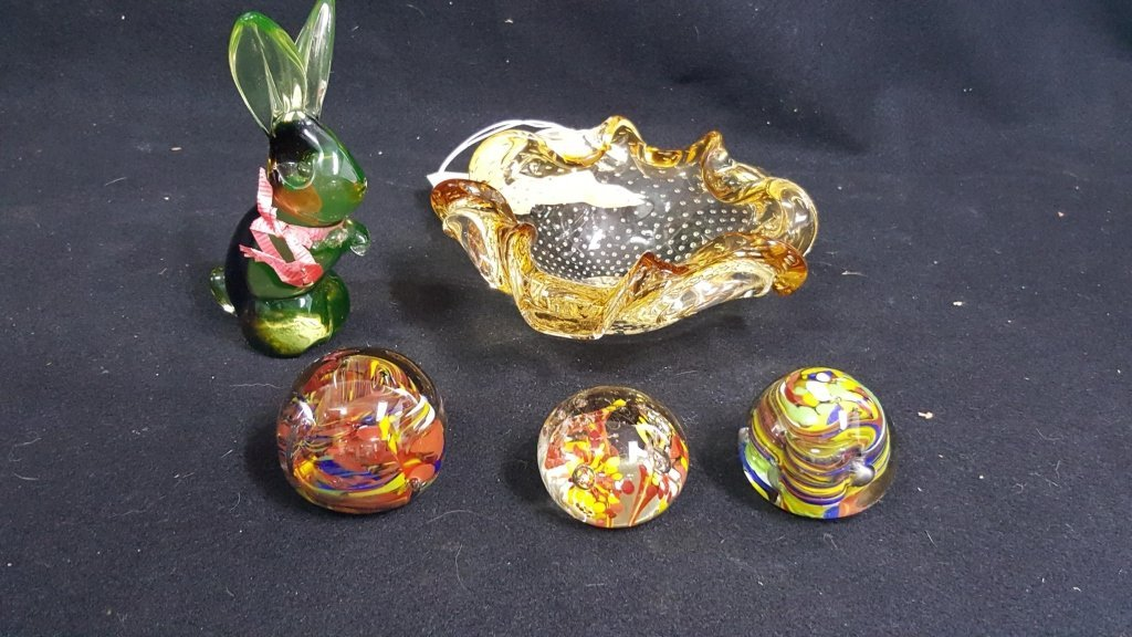 Murano Controlled Bubble Glass Bowl & Paperwights
