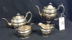 Antique English Sterling Silver 4 Pc Tea Set