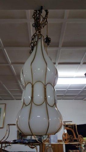 Mid Century White Glass Chandelier