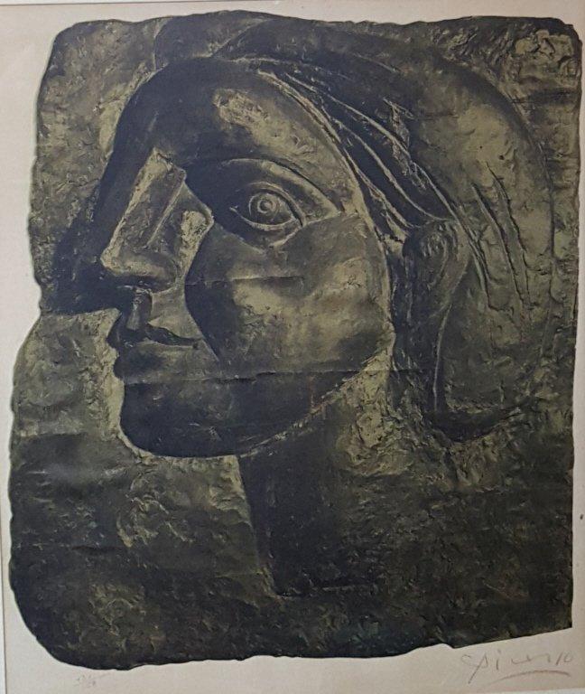 "Pablo Picasso ""Tete de Femme,"" c. 1970, collotype"