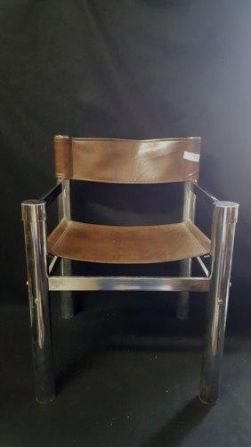 Mid Century Chrome & Brown Vinyl Arm Chair