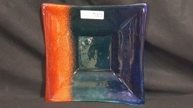 Fused Greek Art Glass Square Dish