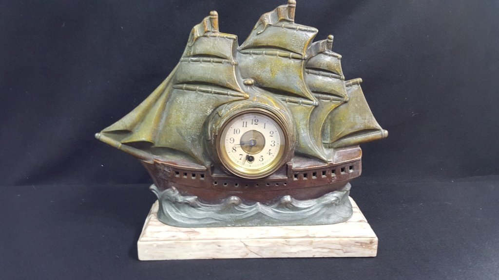 P. Sega Deco Figural Ship Clock