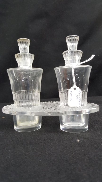 Lalique Oil & Vinegar Bottles & Holder