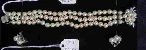 Antique Diamond  Pearl 14k Bracelet  Earrings