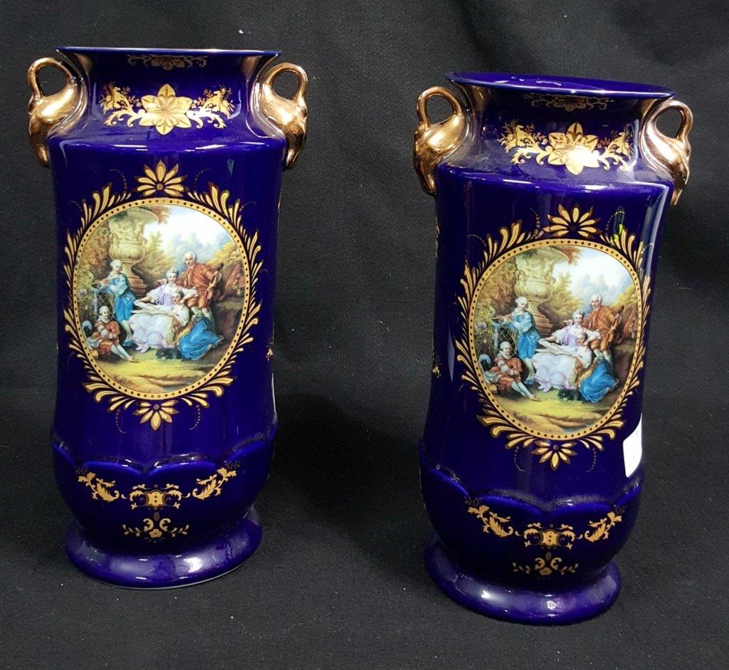 Pair of Capodimonte Swan Handled Cobalt Blue Vases