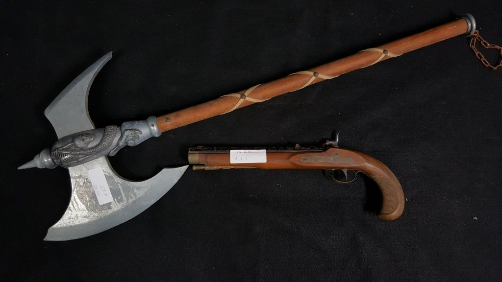 Black Powder Percussion Pistol & Medieval Hand Axe