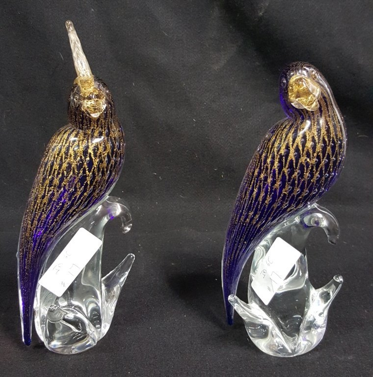 Artist signed Pair of Murano Glass Cockatoos