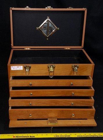 4-Drawer-Vintage Locking Jewelry / Collectors Case
