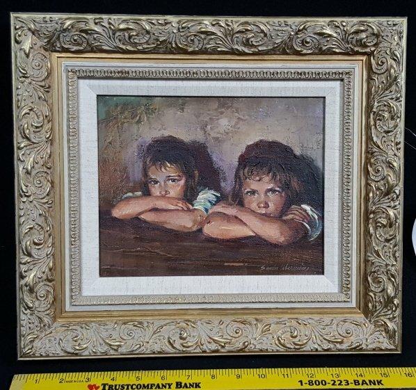 "Sandu Liberman ""Twin Girls"" Oil on Canvas"