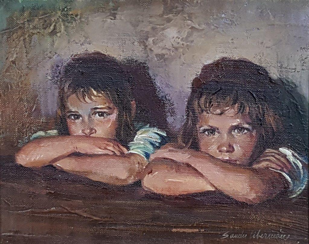 "Sandu Liberman ""Twin Girls"" Oil on Canvas - 2"