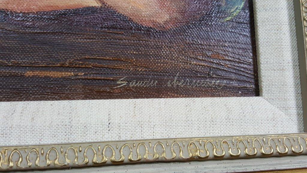 "Sandu Liberman ""Twin Girls"" Oil on Canvas - 3"