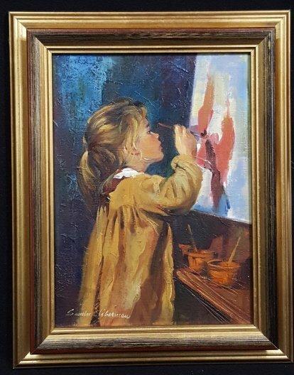 "Sandu Liberman ""Girl Painting"" Oil on Canvas"