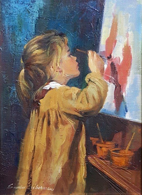 "Sandu Liberman ""Girl Painting"" Oil on Canvas - 2"