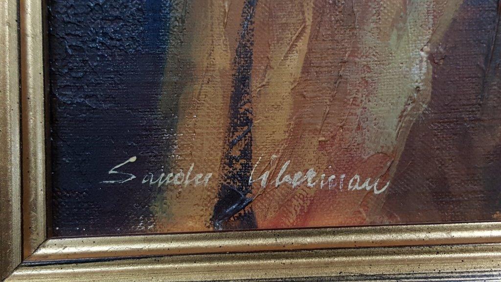 "Sandu Liberman ""Girl Painting"" Oil on Canvas - 3"
