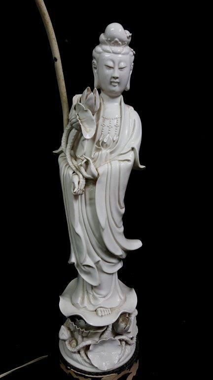 An Antique Chinese Blanc De Chine Statue Kwan Yin