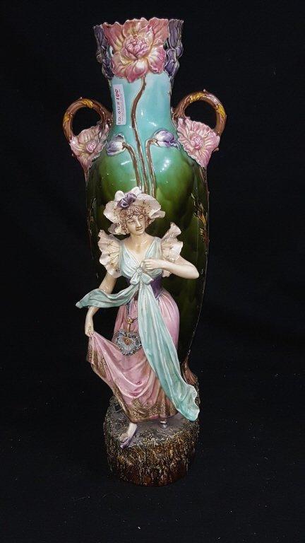Majolica Figurative Floor Vase