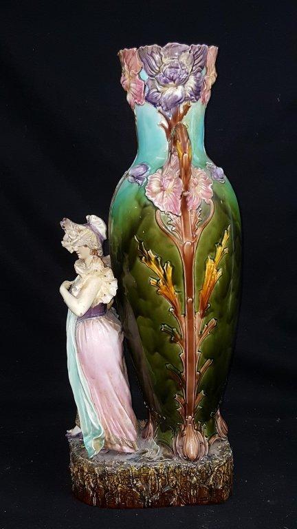 Majolica Figurative Floor Vase - 2