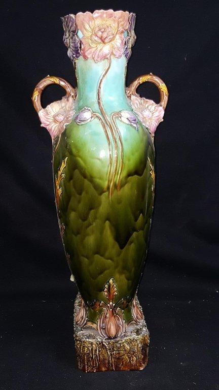 Majolica Figurative Floor Vase - 3
