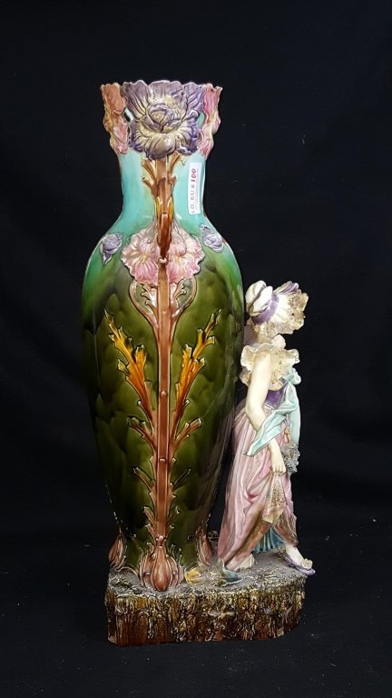 Majolica Figurative Floor Vase - 4