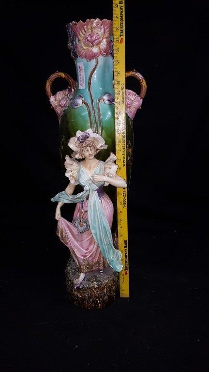 Majolica Figurative Floor Vase - 5