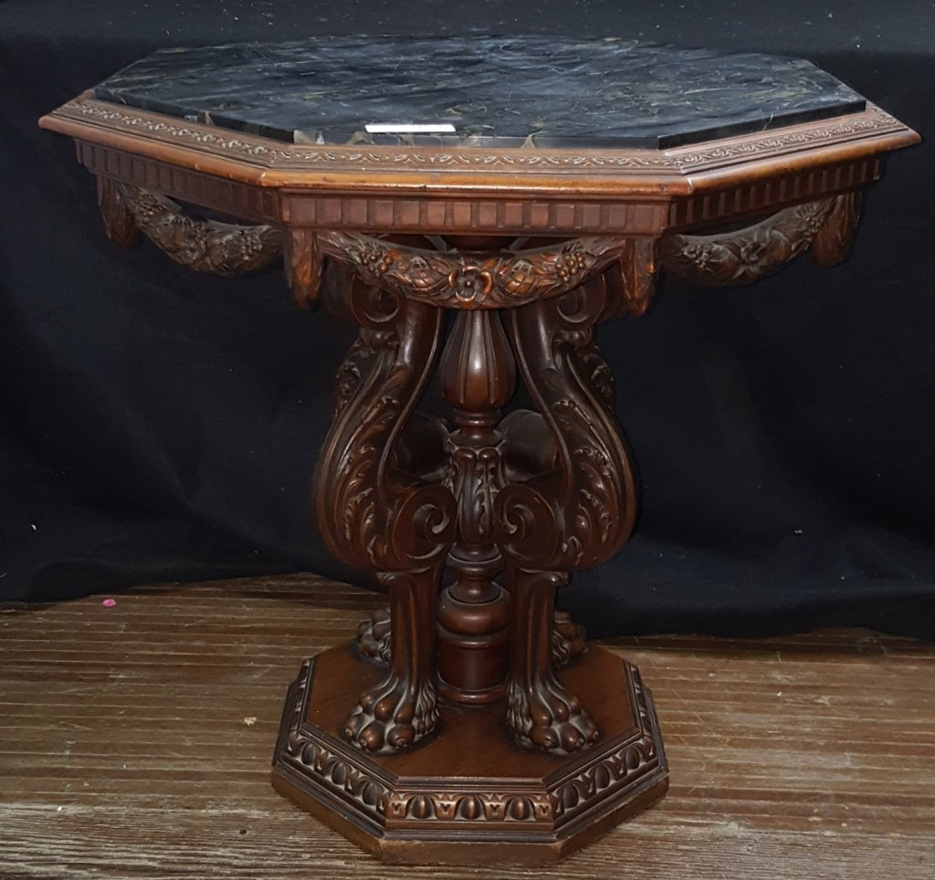 Black Marble Top; Octagon Side Table