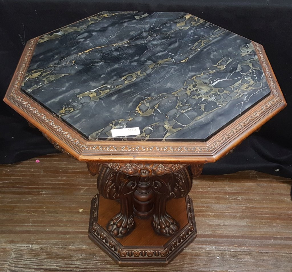Black Marble Top; Octagon Side Table - 2