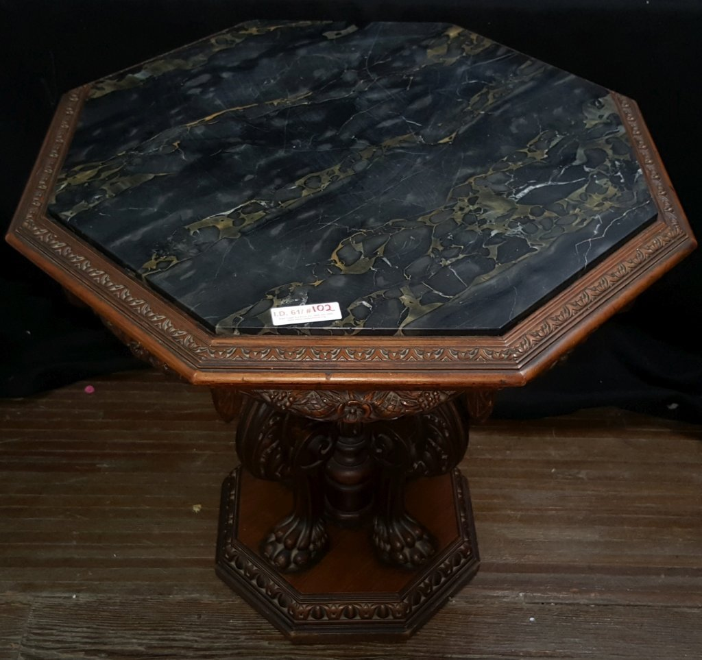 Black Marble Top; Octagon Side Table - 3