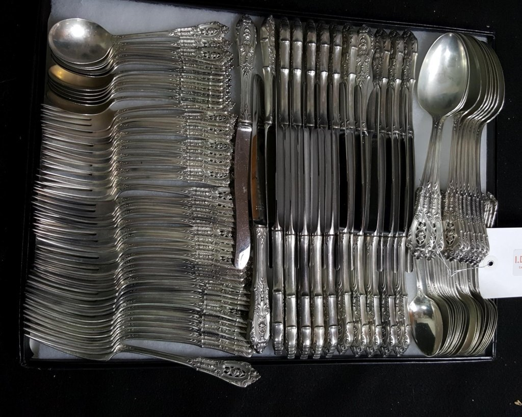 Wallace Sterling Silver Rosepoint Flatware; 100 Pieces