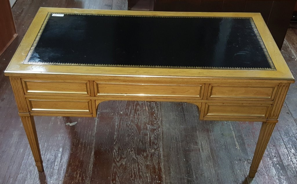5 Mahogany Drawer / Black Leather Topped Desk - 2