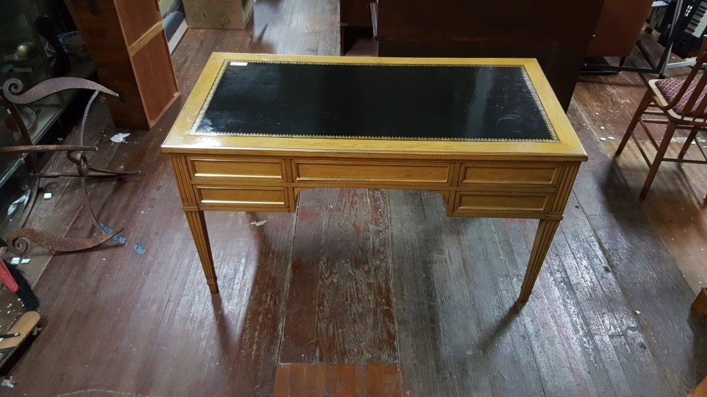 5 Mahogany Drawer / Black Leather Topped Desk - 3
