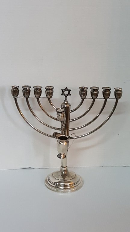 A Sterling Silver Menorah With Oil pitcher - 2