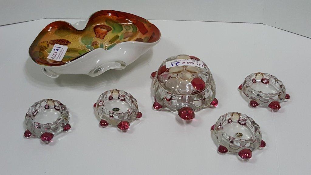 Westmoreland Glass Turtle Set & Murano Bowl