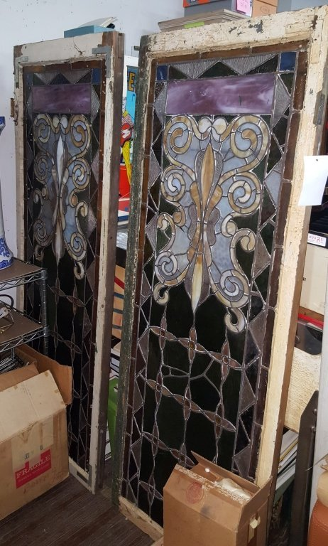 A Near Pair of Decorative Leaded Stained Glass