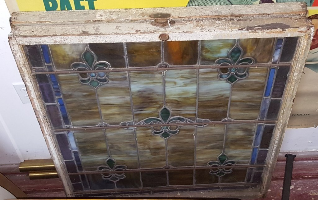 A near Pair / Antique Leaded Stained Glass Windows