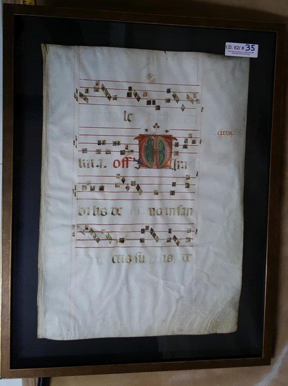 Manuscript Antiphonal Page on Vellum